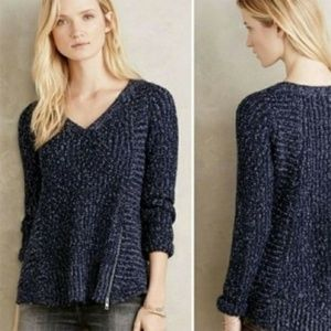 Anthropologie Moth Zipped Stitch Pullover Sweater